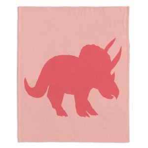 Artistic Sherpa Pile Blankets | Catherine Holcombe - Dinosaur I Pink