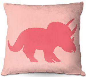 Decorative Outdoor Patio Pillow Cushion | Catherine Holcombe - Dinosaur I Pink
