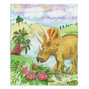 Decorative Fleece Throw Blankets | Catherine Holcombe - Dinosaur II