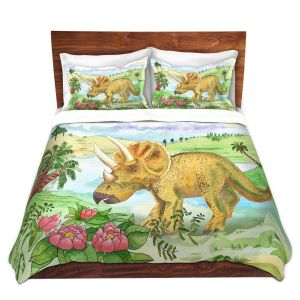 Artistic Duvet Covers and Shams Bedding | Catherine Holcombe - Dinosaur II