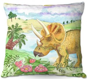 Unique Outdoor Pillow 20X20 from DiaNoche Designs by Catherine Holcombe - Dinosaur II