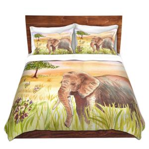 Artistic Duvet Covers and Shams Bedding | Catherine Holcombe - Ellie Elephant