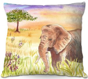 Decorative Outdoor Patio Pillow Cushion | Catherine Holcombe - Ellie Elephant