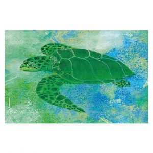 Decorative Floor Covering Mats | Catherine Holcombe - Kelp Sea Turtle | Ocean sea creatures nature