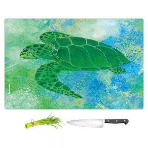 Artistic Kitchen Bar Cutting Boards | Catherine Holcombe - Kelp Sea Turtle | Ocean sea creatures nature