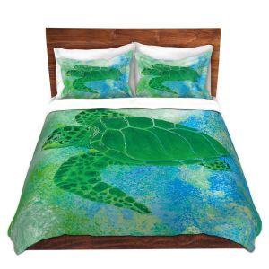 Artistic Duvet Covers and Shams Bedding | Catherine Holcombe - Kelp Sea Turtle | Ocean sea creatures nature