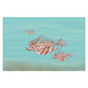 Decorative Floor Covering Mats | Catherine Holcombe - Lion Fish Family | Ocean sea creatures nature