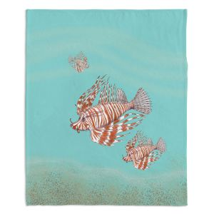 Artistic Sherpa Pile Blankets | Catherine Holcombe - Lion Fish Family | Ocean sea creatures nature