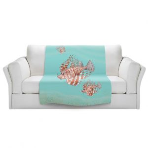Artistic Sherpa Pile Blankets   Catherine Holcombe - Lion Fish Family   Ocean sea creatures nature