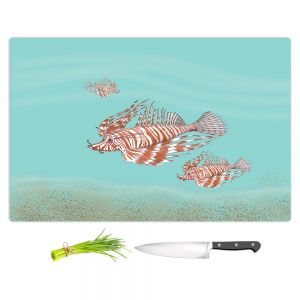Artistic Kitchen Bar Cutting Boards   Catherine Holcombe - Lion Fish Family   Ocean sea creatures nature