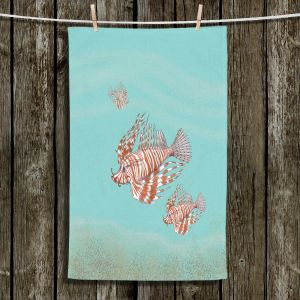 Unique Hanging Tea Towels | Catherine Holcombe - Lion Fish Family | Ocean sea creatures nature
