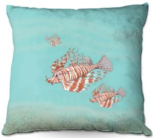 Decorative Outdoor Patio Pillow Cushion | Catherine Holcombe - Lion Fish Family | Ocean sea creatures nature