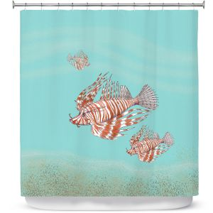 Premium Shower Curtains | Catherine Holcombe - Lion Fish Family | Ocean sea creatures nature