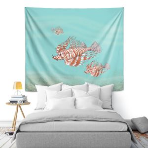 Artistic Wall Tapestry | Catherine Holcombe - Lion Fish Family | Ocean sea creatures nature