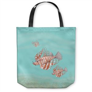 Unique Shoulder Bag Tote Bags | Catherine Holcombe - Lion Fish Family | Ocean sea creatures nature