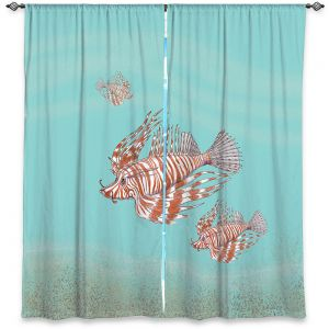 Decorative Window Treatments | Catherine Holcombe - Lion Fish Family | Ocean sea creatures nature