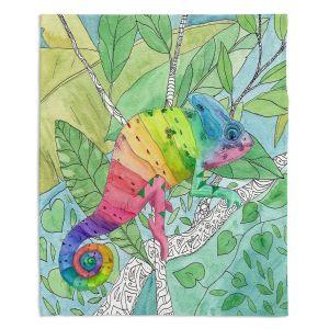 Decorative Fleece Throw Blankets | Catherine Holcombe - Rainbow Chameleon