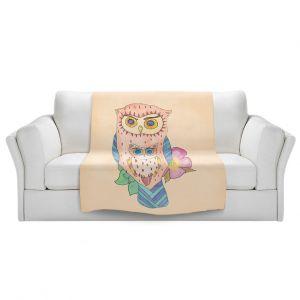 Artistic Sherpa Pile Blankets | Catherine Holcombe - Southwest Owls I