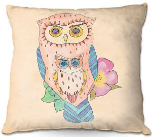 Decorative Outdoor Patio Pillow Cushion | Catherine Holcombe - Southwest Owls I
