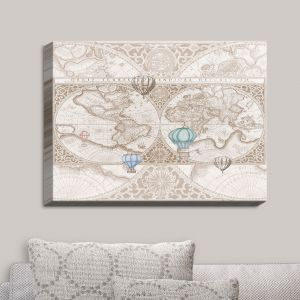 Decorative Canvas Wall Art   Catherine Holcombe - Terralight Brown   Maps Hot Air Ballons