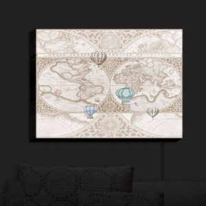 Nightlight Sconce Canvas Light | Catherine Holcombe - Terralight Brown | Maps Hot Air Ballons