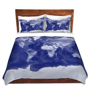 Artistic Duvet Covers and Shams Bedding | Catherine Holcombe - World Map Blue