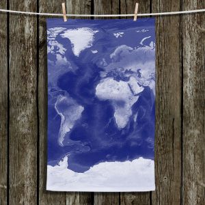 Unique Hanging Tea Towels | Catherine Holcombe - World Map Blue | World Map