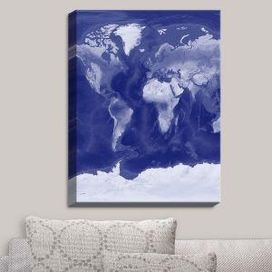 Decorative Canvas Wall Art | Catherine Holcombe - World Map Blue