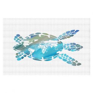Decorative Floor Covering Mats | Catherine Holcombe - World Map Sea Turtle | Ocean sea creatures nature