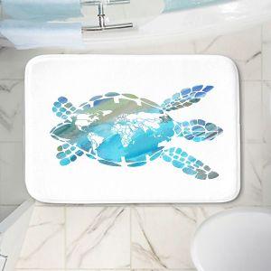 Decorative Bathroom Mats | Catherine Holcombe - World Map Sea Turtle | Ocean sea creatures nature