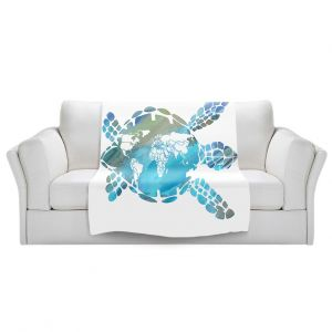 Artistic Sherpa Pile Blankets | Catherine Holcombe - World Map Sea Turtle | Ocean sea creatures nature