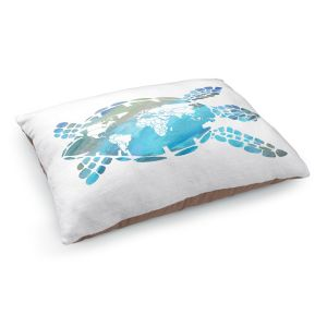 Decorative Dog Pet Beds | Catherine Holcombe - World Map Sea Turtle | Ocean sea creatures nature
