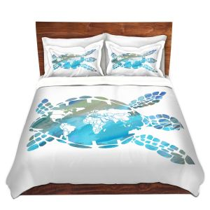 Artistic Duvet Covers and Shams Bedding | Catherine Holcombe - World Map Sea Turtle | Ocean sea creatures nature