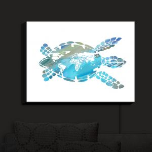 Nightlight Sconce Canvas Light | Catherine Holcombe - World Map Sea Turtle