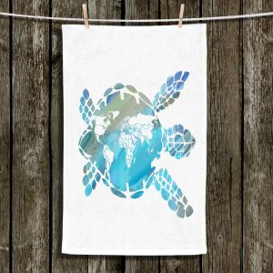 Unique Hanging Tea Towels | Catherine Holcombe - World Map Sea Turtle | Ocean sea creatures nature