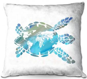 Decorative Outdoor Patio Pillow Cushion | Catherine Holcombe - World Map Sea Turtle | Ocean sea creatures nature
