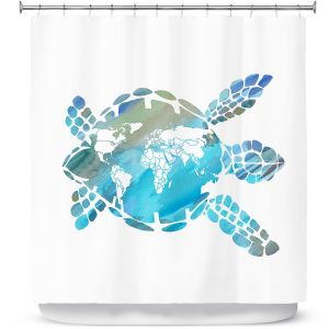 Premium Shower Curtains | Catherine Holcombe - World Map Sea Turtle | Ocean sea creatures nature