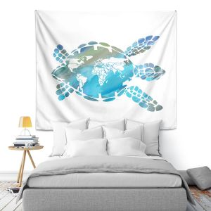 Artistic Wall Tapestry | Catherine Holcombe - World Map Sea Turtle | Ocean sea creatures nature