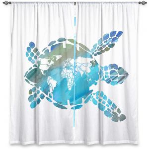 Decorative Window Treatments | Catherine Holcombe - World Map Sea Turtle | Ocean sea creatures nature