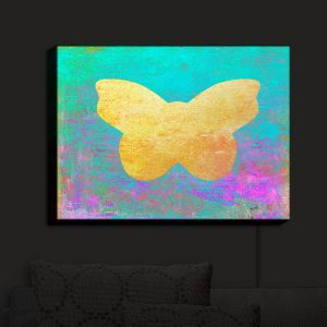 Nightlight Sconce Canvas Light | China Carnella - Aqua Butterfly | Silhouette outline nature insect