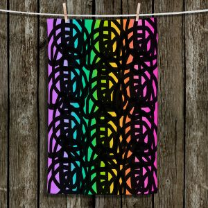 Unique Hanging Tea Towels | China Carnella - Black Rainbow | color pattern abstract swirls