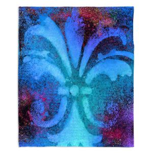 Decorative Fleece Throw Blankets | China Carnella - Bleu de Sparkle | fleur de lit symbol shape outline