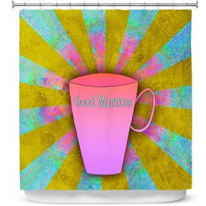 Premium Shower Curtains | China Carnella - Coffee Morning | cup outline quote