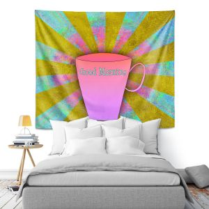 Artistic Wall Tapestry | China Carnella - Coffee Morning | cup outline quote