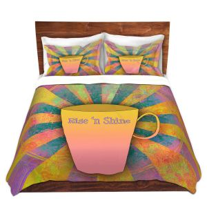 Artistic Duvet Covers and Shams Bedding | China Carnella - Coffee Rise n Shine | cup outline quote