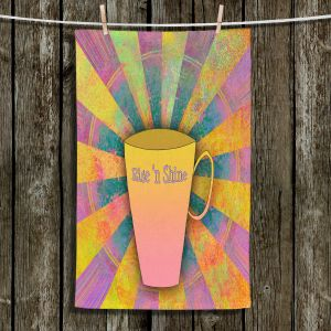 Unique Hanging Tea Towels | China Carnella - Coffee Rise n Shine | cup outline quote