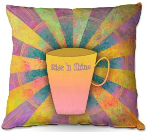 Throw Pillows Decorative Artistic | China Carnella - Coffee Rise n Shine | cup outline quote
