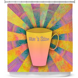 Premium Shower Curtains | China Carnella - Coffee Rise n Shine | cup outline quote