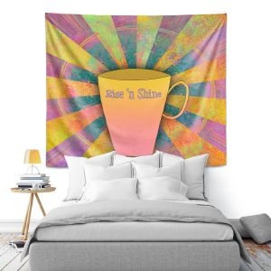 Artistic Wall Tapestry | China Carnella - Coffee Rise n Shine | cup outline quote