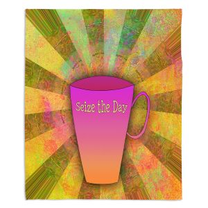 Decorative Fleece Throw Blankets | China Carnella - Coffee Seize the Day | cup outline quote